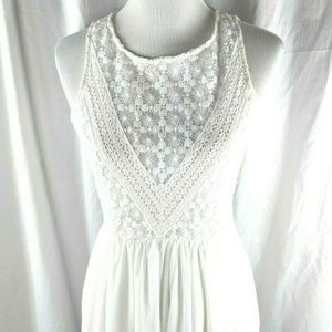 Modcloth Esley White Fit Flare Tea Party Dress